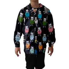 Sheep Cartoon Colorful Black Pink Hooded Wind Breaker (kids)