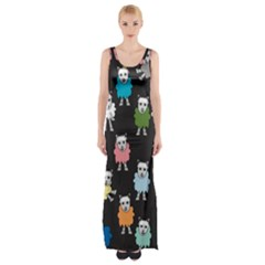 Sheep Cartoon Colorful Black Pink Maxi Thigh Split Dress