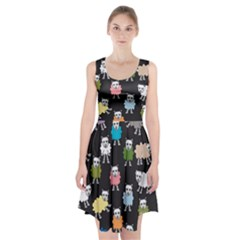 Sheep Cartoon Colorful Black Pink Racerback Midi Dress