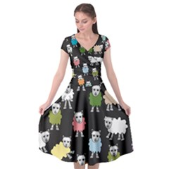 Sheep Cartoon Colorful Black Pink Cap Sleeve Wrap Front Dress