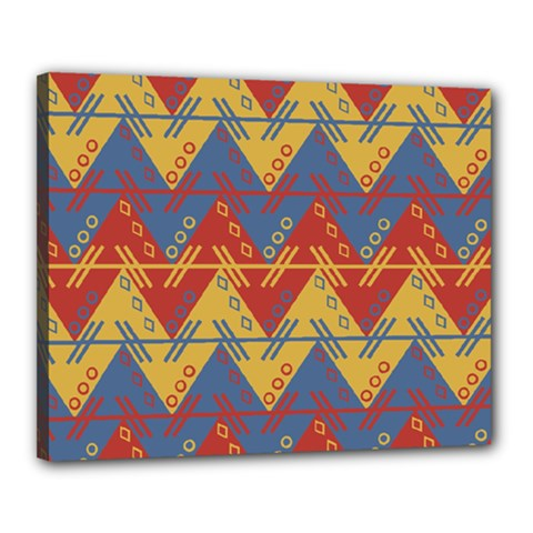 Aztec South American Pattern Zig Canvas 20  X 16  by BangZart