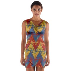 Aztec South American Pattern Zig Wrap Front Bodycon Dress