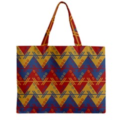 Aztec South American Pattern Zig Medium Zipper Tote Bag