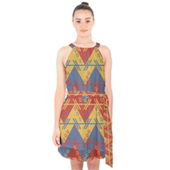 Aztec South American Pattern Zig Halter Collar Waist Tie Chiffon Dress by BangZart