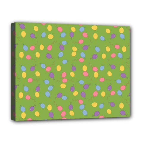 Balloon Grass Party Green Purple Canvas 14  X 11  by BangZart