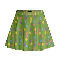 Balloon Grass Party Green Purple Mini Flare Skirt