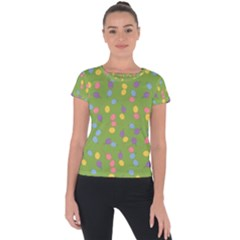 Balloon Grass Party Green Purple Short Sleeve Sports Top  by BangZart