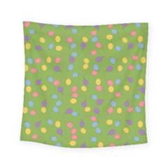 Balloon Grass Party Green Purple Square Tapestry (small)