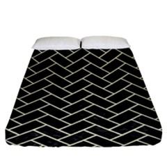 Brick2 Black Marble & Beige Linen Fitted Sheet (king Size) by trendistuff