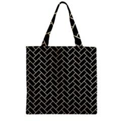 Brick2 Black Marble & Beige Linen Zipper Grocery Tote Bag by trendistuff
