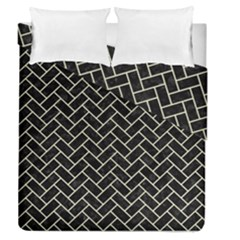 Brick2 Black Marble & Beige Linen Duvet Cover Double Side (queen Size) by trendistuff