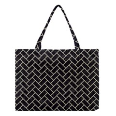 Brick2 Black Marble & Beige Linen Medium Tote Bag by trendistuff