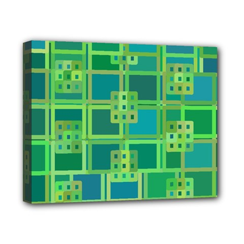 Green Abstract Geometric Canvas 10  X 8