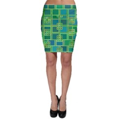 Green Abstract Geometric Bodycon Skirt