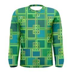 Green Abstract Geometric Men s Long Sleeve Tee