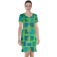 Green Abstract Geometric Short Sleeve Nightdress