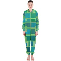 Green Abstract Geometric Hooded Jumpsuit (ladies)