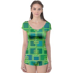 Green Abstract Geometric Boyleg Leotard