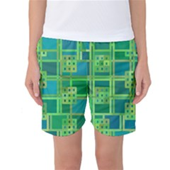 Green Abstract Geometric Women s Basketball Shorts