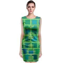 Green Abstract Geometric Classic Sleeveless Midi Dress