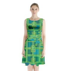 Green Abstract Geometric Sleeveless Waist Tie Chiffon Dress