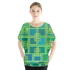 Green Abstract Geometric Blouse