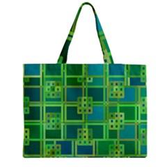 Green Abstract Geometric Medium Zipper Tote Bag by BangZart