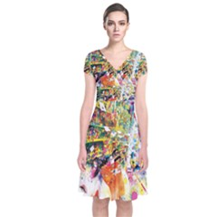 Multicolor Anime Colors Colorful Short Sleeve Front Wrap Dress