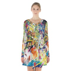 Multicolor Anime Colors Colorful Long Sleeve Velvet V Neck Dress