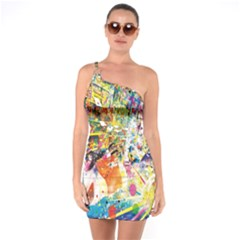 Multicolor Anime Colors Colorful One Soulder Bodycon Dress