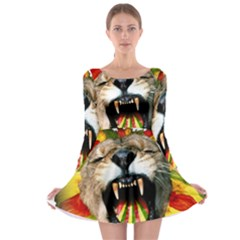 Reggae Lion Long Sleeve Skater Dress