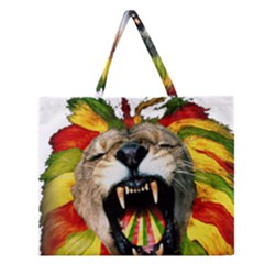 Reggae Lion Zipper Large Tote Bag