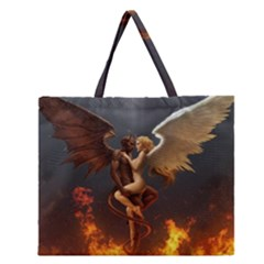 Angels Wings Curious Hell Heaven Zipper Large Tote Bag by BangZart