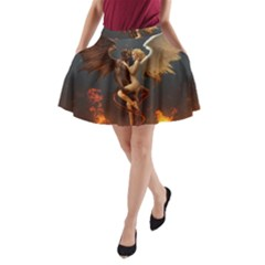 Angels Wings Curious Hell Heaven A Line Pocket Skirt