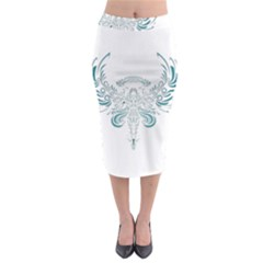 Angel Tribal Art Midi Pencil Skirt