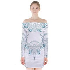 Angel Tribal Art Long Sleeve Off Shoulder Dress
