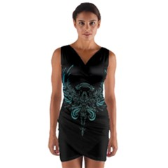Angel Tribal Art Wrap Front Bodycon Dress
