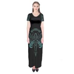 Angel Tribal Art Short Sleeve Maxi Dress