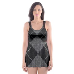 Wool Texture With Great Pattern Skater Dress Swimsuit