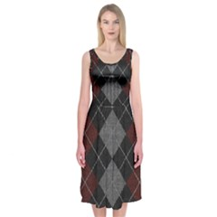 Wool Texture With Great Pattern Midi Sleeveless Dress