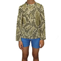 Yellow Snake Skin Pattern Kids  Long Sleeve Swimwear