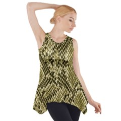 Yellow Snake Skin Pattern Side Drop Tank Tunic