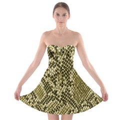 Yellow Snake Skin Pattern Strapless Bra Top Dress