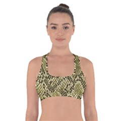 Yellow Snake Skin Pattern Cross Back Sports Bra