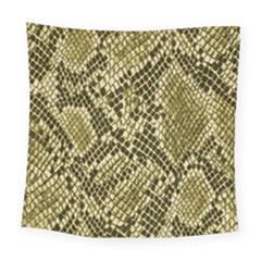 Yellow Snake Skin Pattern Square Tapestry (large) by BangZart