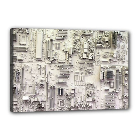White Technology Circuit Board Electronic Computer Canvas 18  X 12