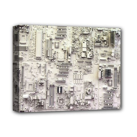 White Technology Circuit Board Electronic Computer Deluxe Canvas 14  X 11  by BangZart