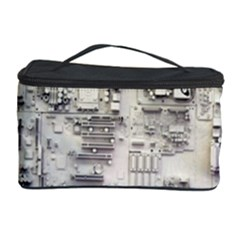 White Technology Circuit Board Electronic Computer Cosmetic Storage Case by BangZart