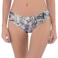 White Technology Circuit Board Electronic Computer Reversible Classic Bikini Bottoms
