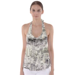 White Technology Circuit Board Electronic Computer Babydoll Tankini Top